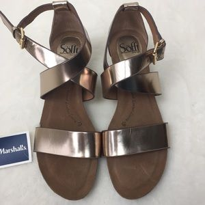 Sofft Wedge Criss Cross Sandals Vita Warm Gold 8.5